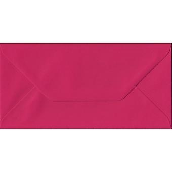 Fuchsia Pink Gummed DL Coloured Pink Envelopes. 100gsm FSC Sustainable Paper. 110mm x 220mm. Banker Style Envelope.