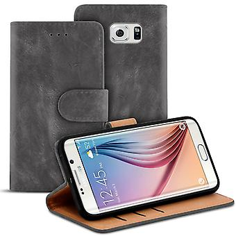 Vintage Sleeves with Card Compartment for Samsung Galaxy S6 Edge Leatherette Stylish Wallet Grey