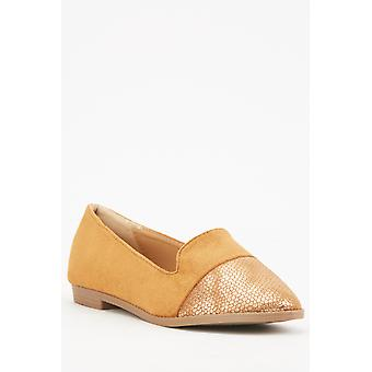 Camel Shimmery Contrasted Loafers
