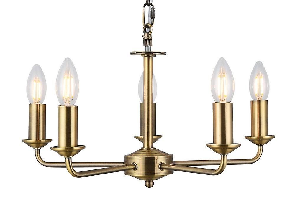 Inspired Deco - Banyan - 5 Light Multi Arm Ceiling Pendant without Shade, c, w 2m Chain, E14 Antique Brass