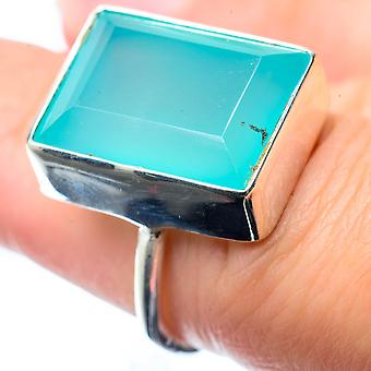 Aqua Chalcedony Ring Size 6.25 (925 Sterling Silver)  - Handmade Boho Vintage Jewelry RING26557