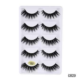 5 Pairs 5d Mink Eyelashes Natural False Eyelashes Lashes Soft Fake Eyelashes