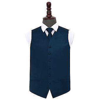 Gilet de mariage en satin bleu bleu marine & Ensemble de cravates