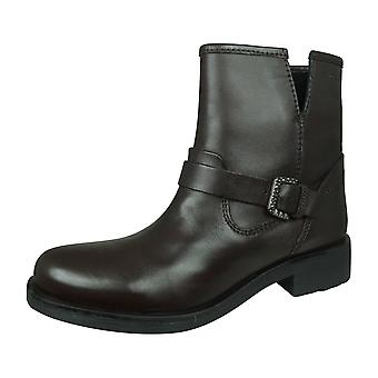 Geox D Rawelle D Womens Nappa Leather Ankle / Biker Boots - Coffee