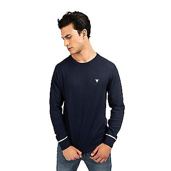 Guess Crew Neck Wool Blend Sweater - Navy Blue