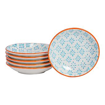Nicola Spring 6 Piece Hand-Printed Sauce Dish Set - Small Japanese Style Porcelain Salsa Dipping Plates - Blue - 10cm