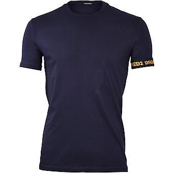 dsquared2 skjelvet logo ermet crew-hals t-skjorte, navy