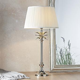Table Lamp Polished Nickel Plate & Vintage White Silk 1 Light IP20 - E27