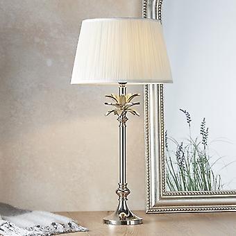 Endon Beleuchtung Blatt & Freya - Tischlampe poliert Nickel Platte & Vintage weiße Seide 1 Licht IP20 - E27