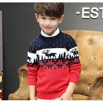Christmas Sweaters For Boys Autumn - Elk Print Long Sleeve Double Thicken Cotton