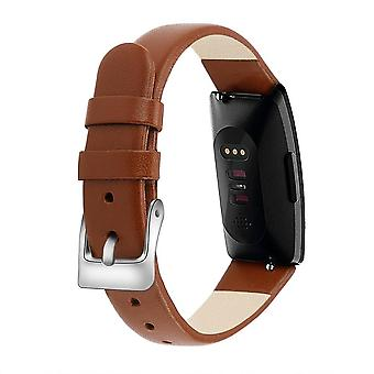 For Fitbit Inspire / Inspire HR Band Genuine Leather Replacement Wristband Strap[Brown]