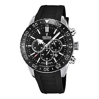 Festina F20515-2 Men's Chronograph Czarna tarcza i gumowy pasek na rękę