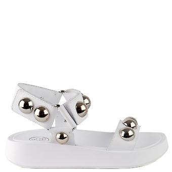 Ash VLILCAN Sandals White Leather & Silver Ball Studs