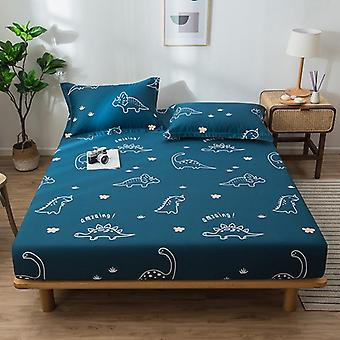 Geometric Printed Fitted Bed Sheet With Elastic Band, Bed Linen Mattress Cover