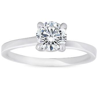 3 / 4 ct Diamond Solitaire zásnubný prsteň Twist Band 14k biele zlato