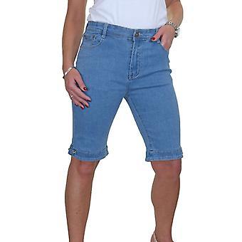 Damen Stretch Denim Shorts Bermuda Style mit Diamante Detail auf Manschette blass blau 10-24 (20)