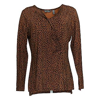 Lisa Rinna Collection Women's Top Printed W/ Pleat Detail Brown A370178