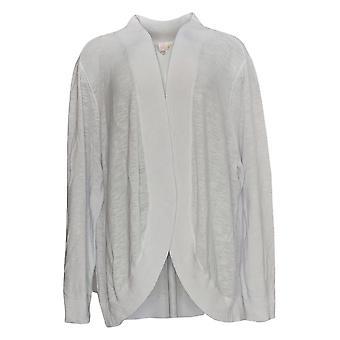 Belle By Kim Gravel Women's Sweater Long Sleeve Open Front White A351256