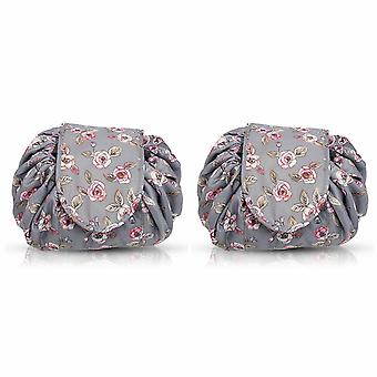 Envie Travel Cosmetic Drawstring Polyester Bag Pouch, Pack of 2, Rose Grey