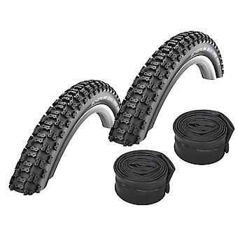 """Velo.Set 2 x Schwalbe Mad Mike Bicycle Tires = 57-406 (20×2,125"""") + Hoses"""