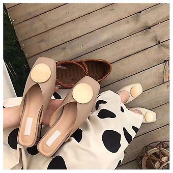 Women Slippers Slip On Mules Flat Heel Casual Shoes, Wooden Block Heels