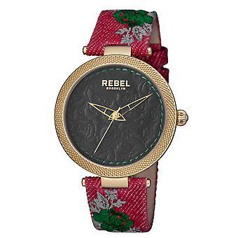 Rebel Women's Carroll Gardens Green Dial Cloth Watch
