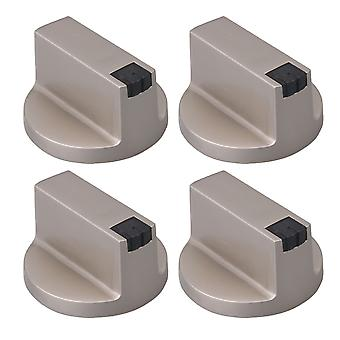 Silver Zinc Alloy 6mm Shaft Core 0 Degree Gas Stove Knob Pack of 4