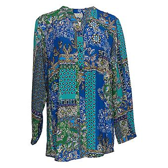 Joan Rivers Classics Collection Women's Top Textured Blouse Blue A366232