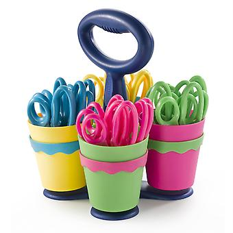 """School Scissor Caddy With 24 Pointed 5"""" Kids Scissors, Anti-Microbial Protection"""