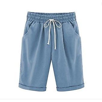 Letní bavlněné lněné šortky casual dámské stahovací elastické volné krátké