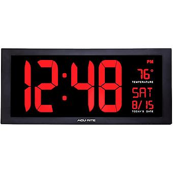 Acu-Rite AcuRite 75100C 18-Inch Large Led Clock with Indoor Temperature, Black