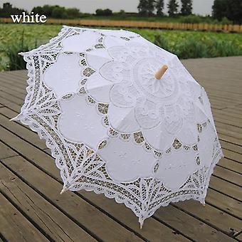 Fashion Sun, Embroidery Bridal Battenburg Lace Wedding Umbrella