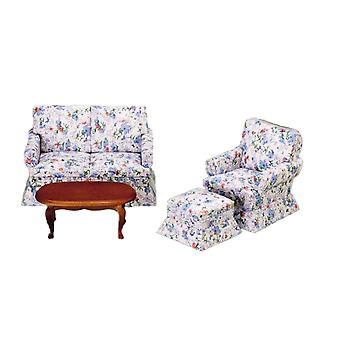 בית הבובות ורוד כחול פרחוני סלון רהיטים סט 1:12 טרקלין סולם