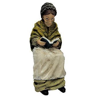 Dolls House Wiktoriańska Stara Dama siedząca czytanie ludzie żywica rysunek