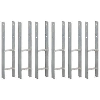 Pfostenträger 6 Stk. Silbern 12×6×60 cm Verzinkter Stahl