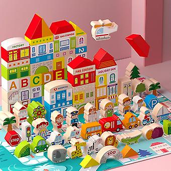 Wooden City Building Blocks 120 Pieces Children's City Construction Wooden Blocks Children's Toys