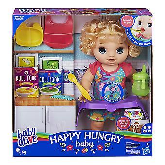 Dziecko żyje szczęśliwy głodny dziecko blond kręcone włosy lalka, sprawia, że 50 + dźwięki i zwroty, je i pije