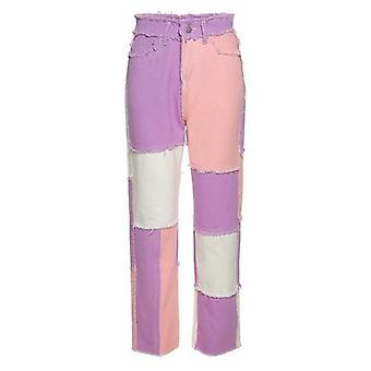 Casual Patchwork Color High Waist Denim Jeans Pants