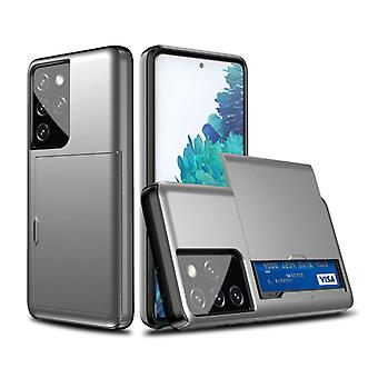 VRSDES Samsung Galaxy S10 Lite - Wallet Card Slot Cover Case Case Business Gray