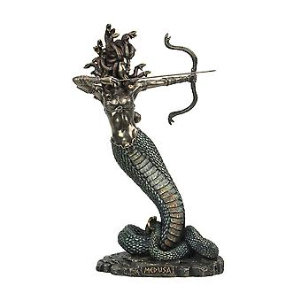 Bronze Finished Greek Gorgon Medusa with Snake Bow and Arrows Tabletop Statue