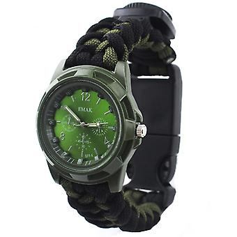 IPRee 4 In 1 EDC Survival Compasss Bracelet Watch Camp Emergency Nylon Paracord Wristband