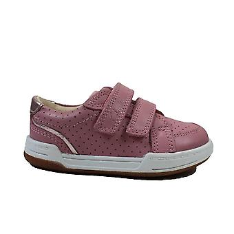 Clarks Fawn Solo Toddler Light Pink Leather Girls Rip Tape Shoes