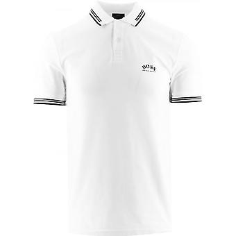 BOSS White Paul Curved Polo Shirt