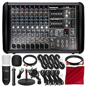 Mackie ppm608 8-channel 1,000w powered mixer and platinum microphone accessory bundle w/cardioid condenser mic + xpix studio desktop mic ps15155