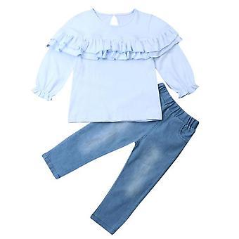 Toddler Kids Baby Clothing Set, Ruffle Floral Tops Pants