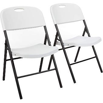 Wokex Basics Klappbarer Kunststoff-Stuhl, 157,5 kg Tragkraft, Wei, 2er-Set
