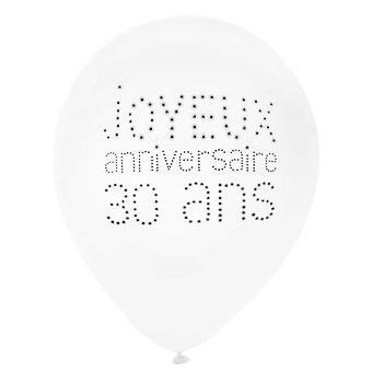 8 Ballons en latex 30 ans anniversaire chic 23 cm