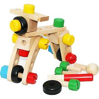 HanFei 30-teiliger Baukasten aus Holz - Werkzeug zum selber Schrauben inkl. Kordelbeutelzug