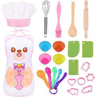 HanFei 24 stucke Koch-und Backset fr Kinder Schrze Kochmtze Outfit Kinderkche Rollenspielsets mit