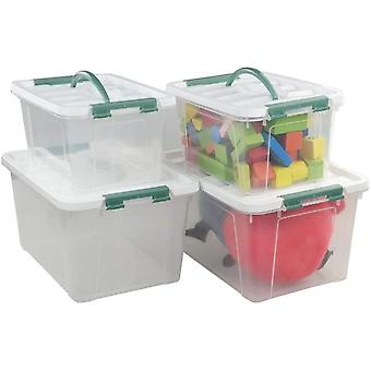Plastic Clear Small and Large First Aid Boxes Containers, 4 Pack
